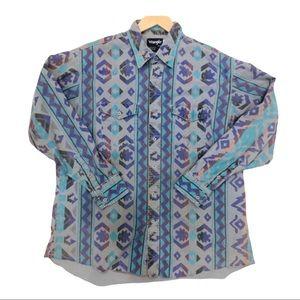Unique vintage Wrangler men's button down shirt